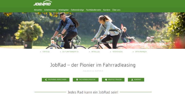 screenshot jobrad webseite