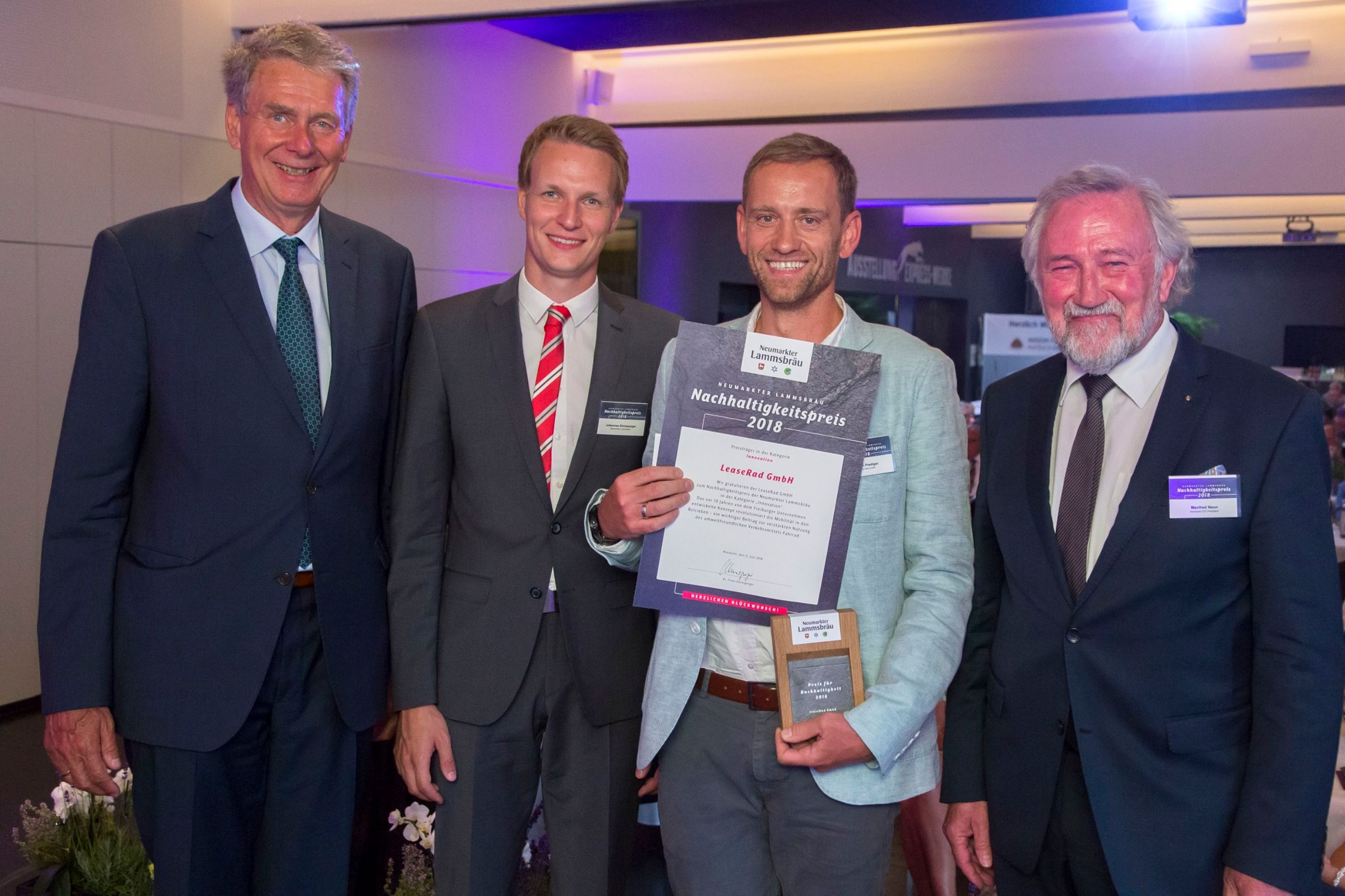 Jobrad gewinnt den Nachhaltigkeitspreis Neumarkter Lammsbräu 2018